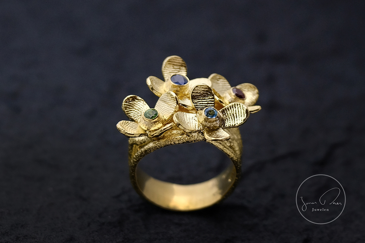 Yello Gold Ring flowers fingerprints