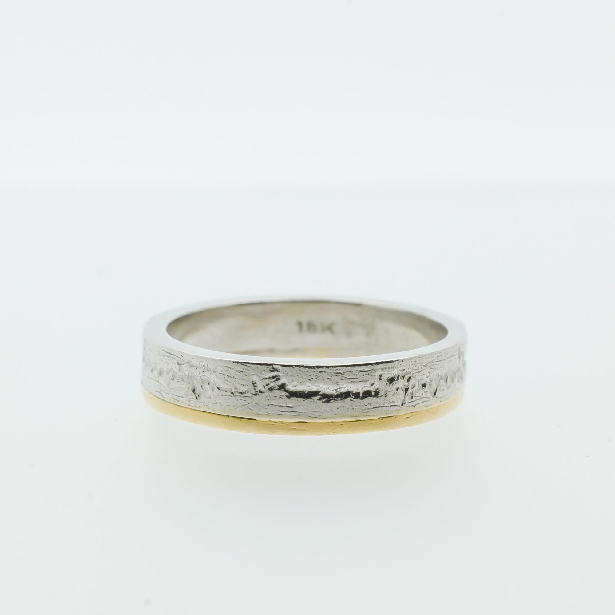 Ruwe ring met geel en wit goud